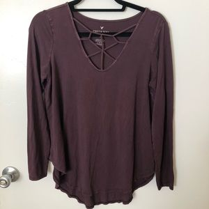 American Eagle Soft & Sexy Maroon Criss Cross Top